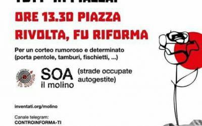 Lugano, sabato 5 giugno – ore 13.30 – piazza Riforma – manifestazione a sostegno dell'autogestione